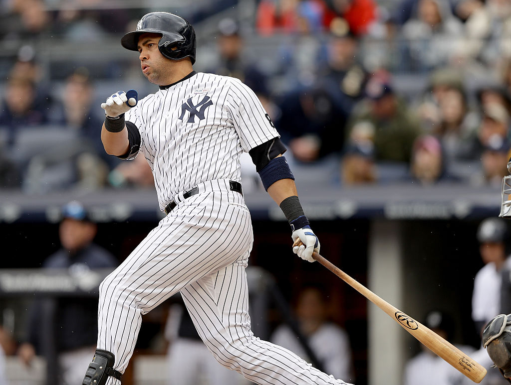 Carlos Beltran #36 of the New York Yankees hits hit career 400th home run in the sixth inning against the Chicago White Sox at Yankee Stadium on May 15, 2016 in the Bronx borough of New York City-531637332