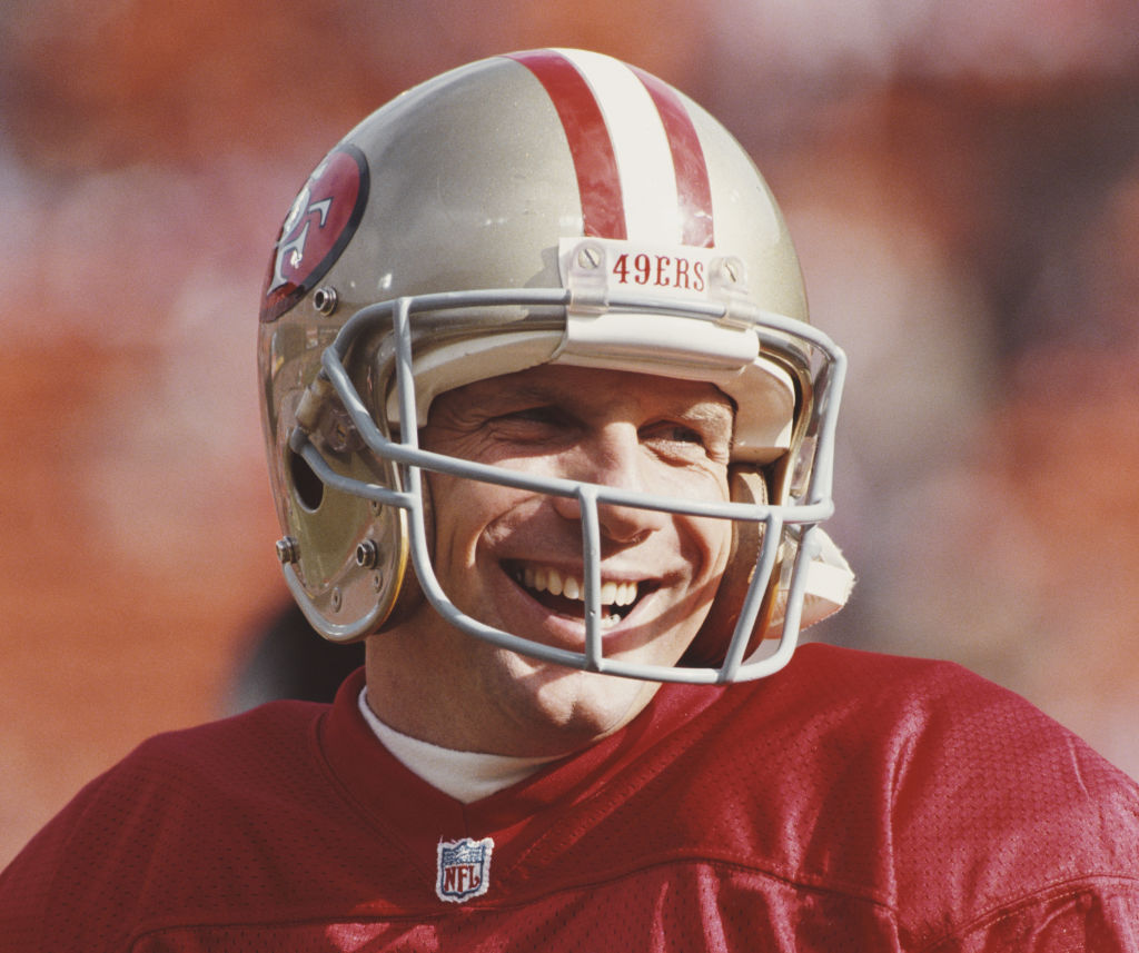 Joe Montana #16, back up Quarterback for the San Francisco 49ers during the National Football Conference West Divisional Championship game against the Washington Redskins-788475117