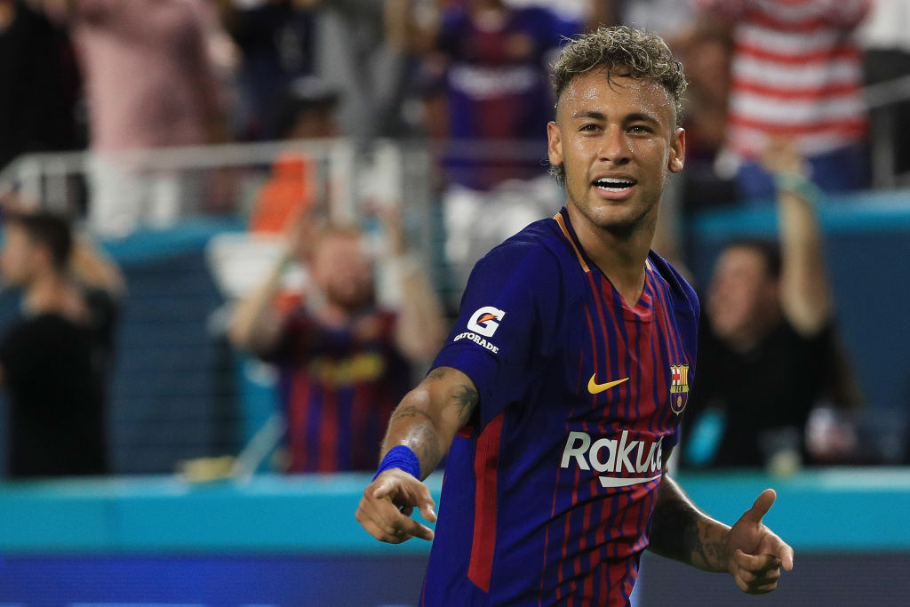 Neymar #11 of Barcelona reacts in the second half against Real Madrid during their International Champions Cup 2017 match at Hard Rock Stadium-824380516