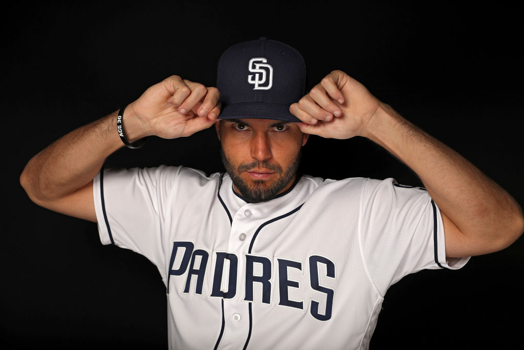 Eric Hosmer #30 of the San Diego Padres poses on photo day during MLB Spring Training at Peoria Sports Complex on February 21, 2018 in Peoria, Arizona-922326122