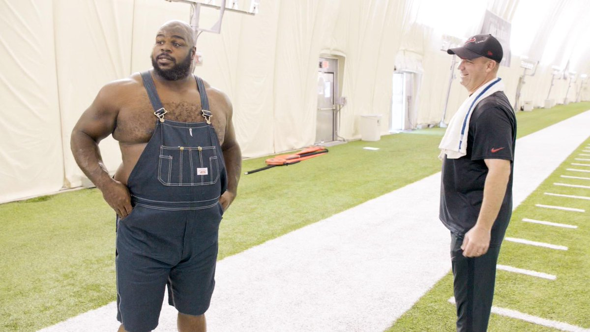 Vince Wilfork's overalls in hbos hard knocks