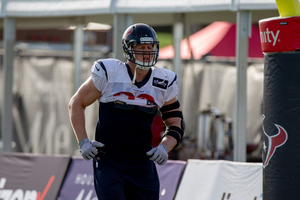 Houston Texan DE J.J Watt (99) enter the field