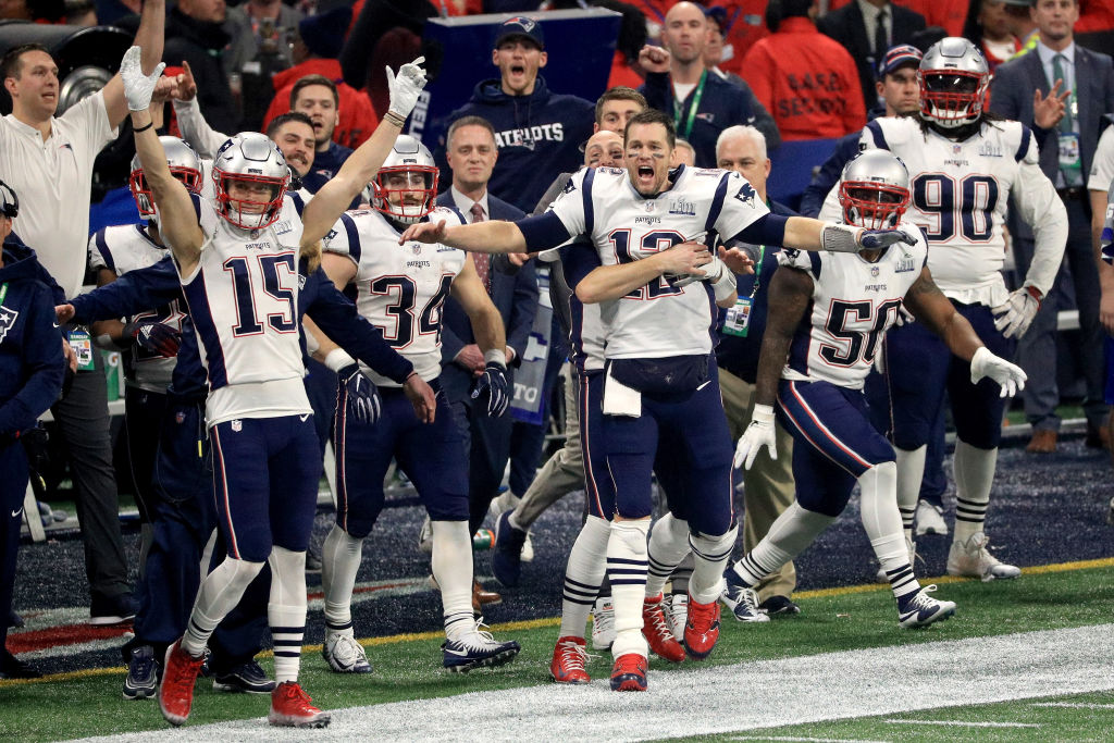 The New England Patriots celebrate after winning the Super Bowl LIII