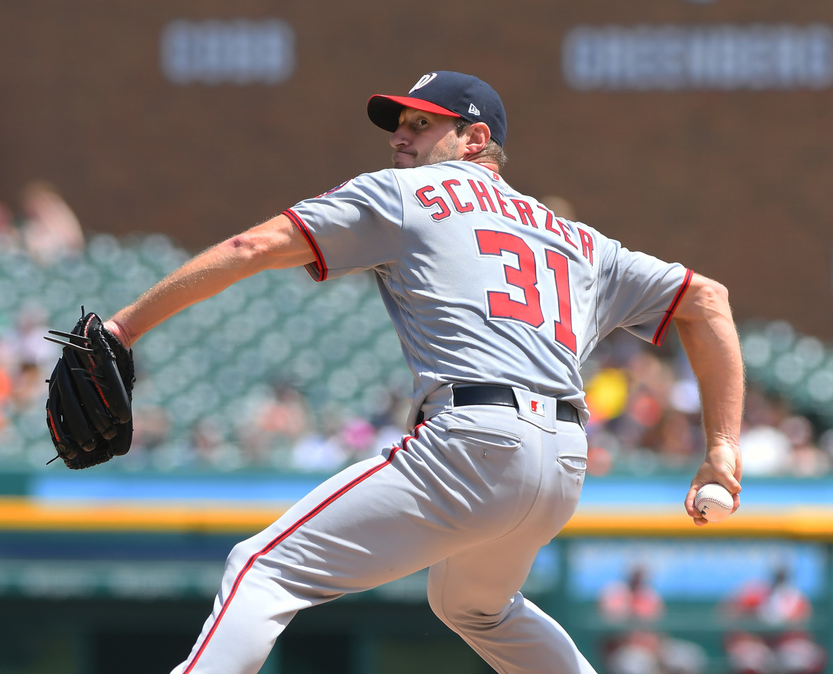 Max Scherzer #31 of the Washington Nationals pitches during the game against the Detroit Tigers