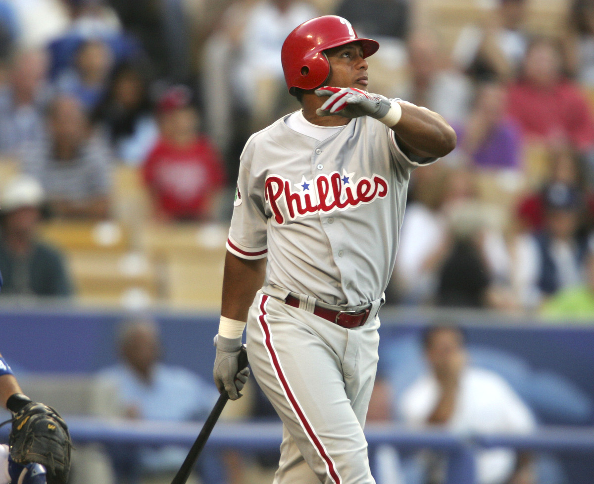 Philadelphia Phillies Bobby Abreu hits first inning home run vs Los Angeles Dodgers