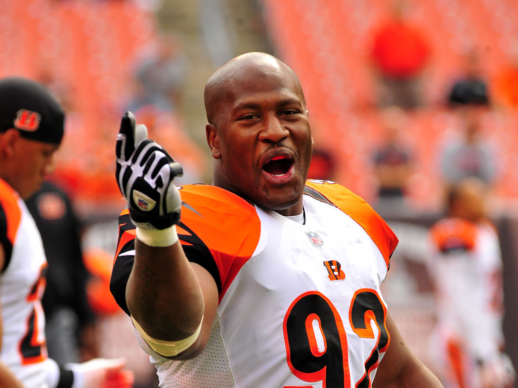 Linebacker James Harrison #92 of the Cincinnati Bengals laughs with teammates
