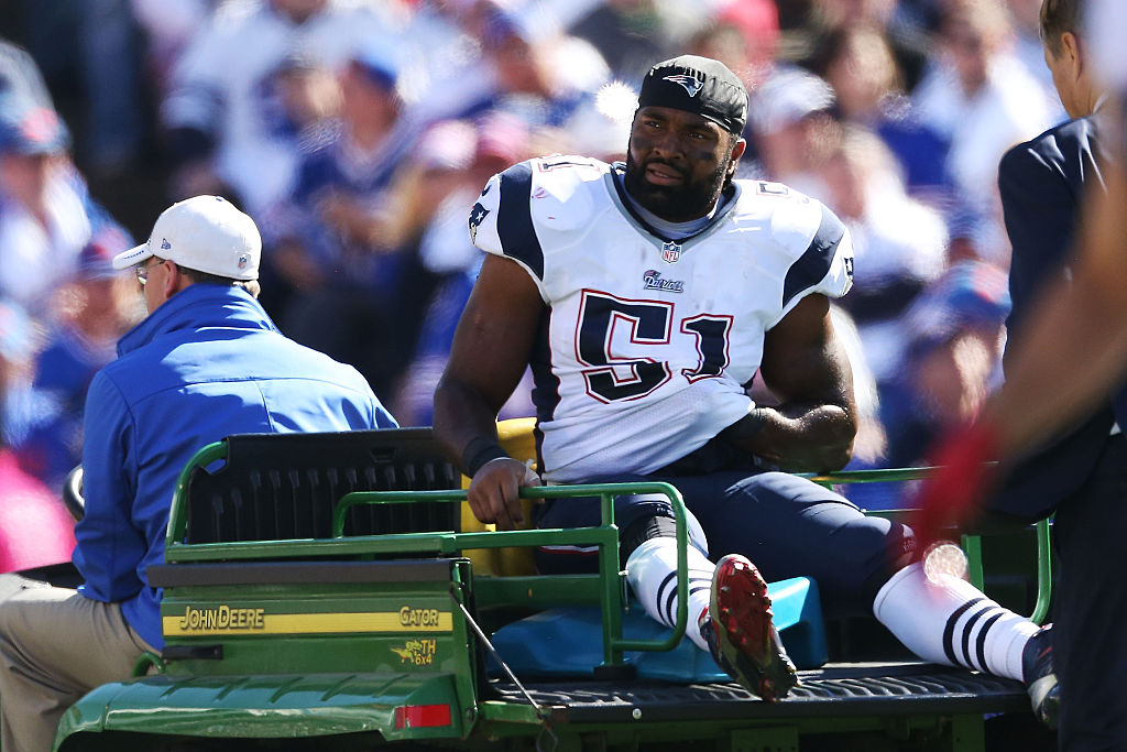 being carted off the field