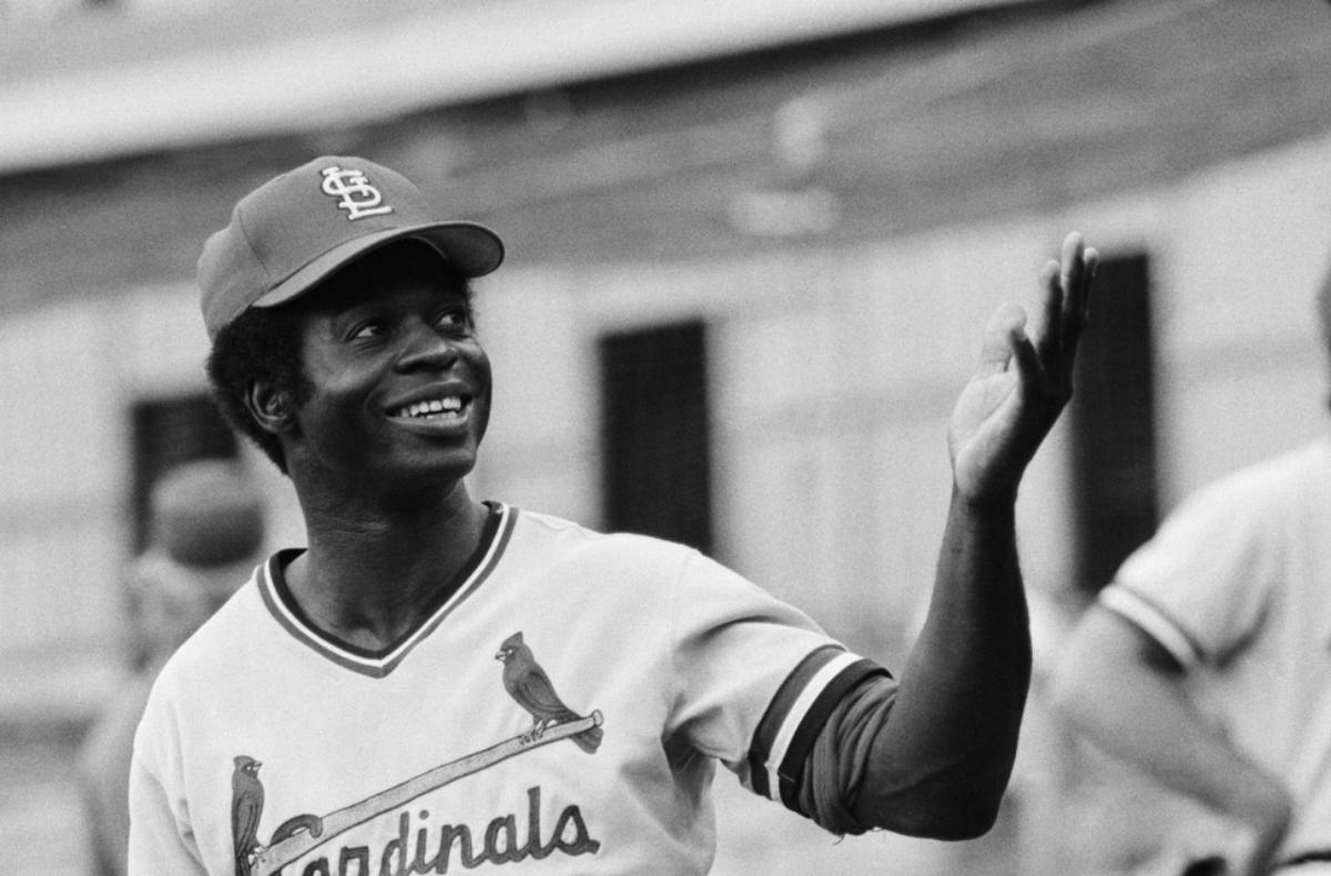 Lou Brock of the St. Louis Cardinals, 1977