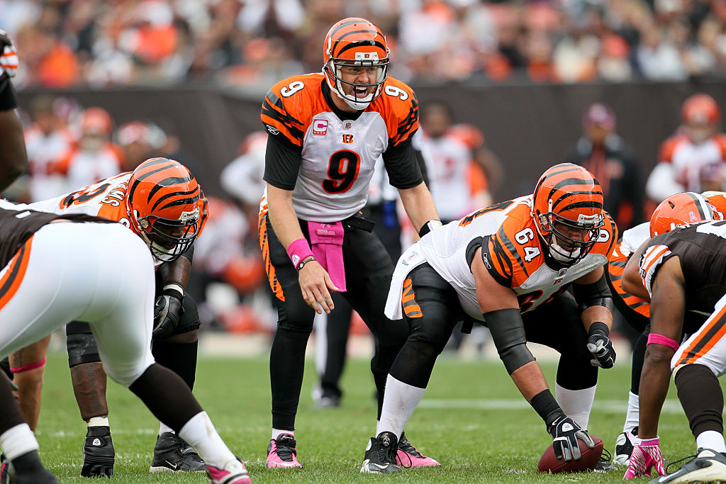 Cincinnati Bengals quarterback Carson Palmer (9) under center center Kyle Cook (64)-577814098