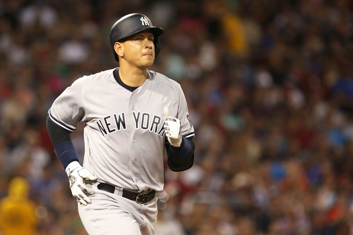 Alex Rodriguez #13 of the New York Yankees looks during the game against the Boston Red Sox, 2016