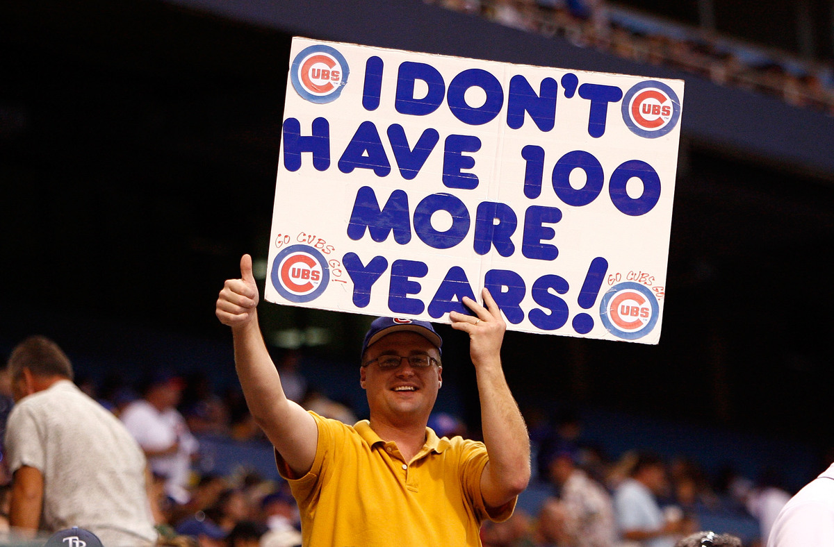 A fan of the Chicago Cubs holds a sign during the game against the Tampa Bay Rays during the game at Tropicana Field June 18, 2008 in St. Petersburg, Florida.