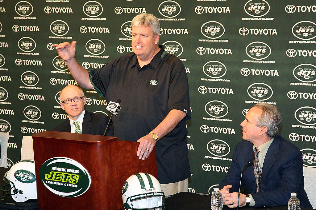 Rex Ryan of the New York Jets addresses the media at the announcement that the New York Jets will be the featured team on the HBO Show