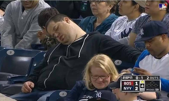 a fan asleep at a yankees game