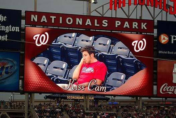 kiss cam at a baseball game