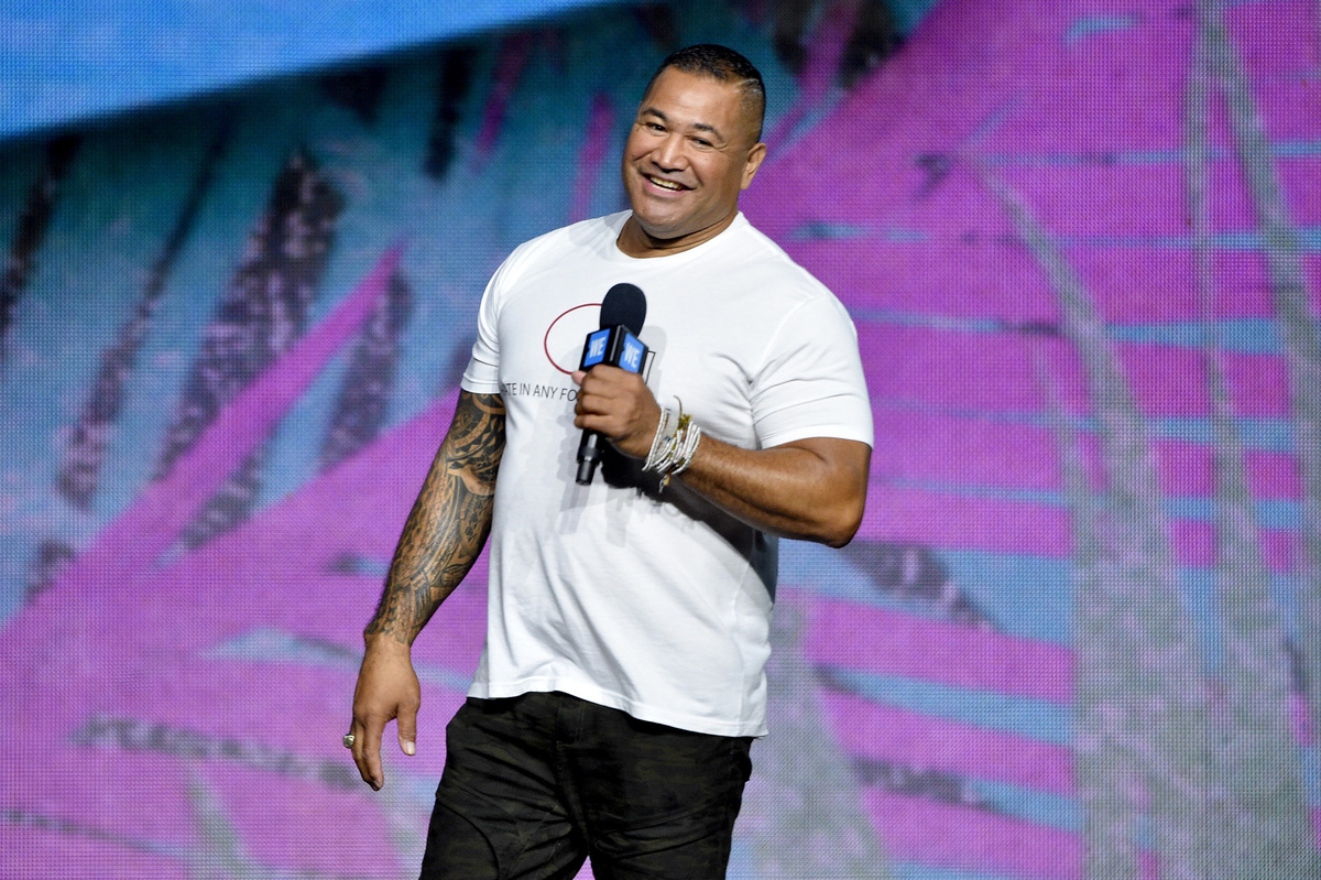 former NFL player Esera Tuolo at WE Day UN 2018