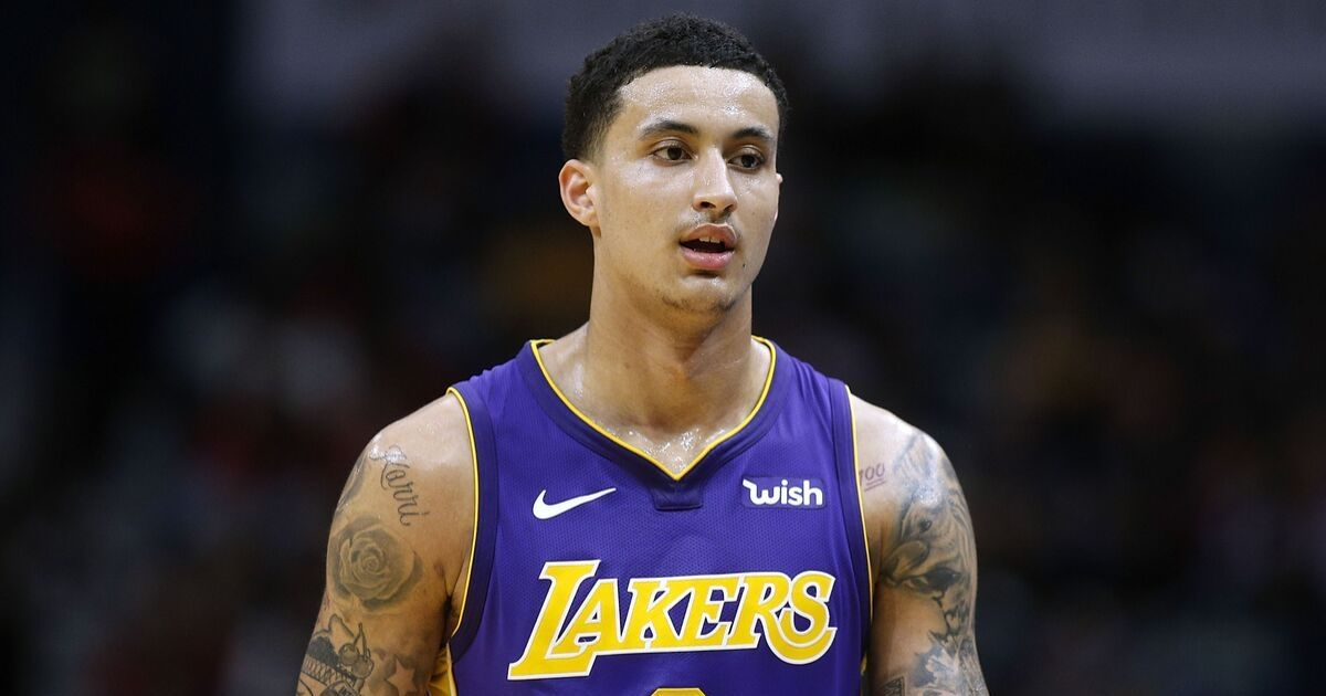 Kyle Kuzma on the court in his Lakers jersey