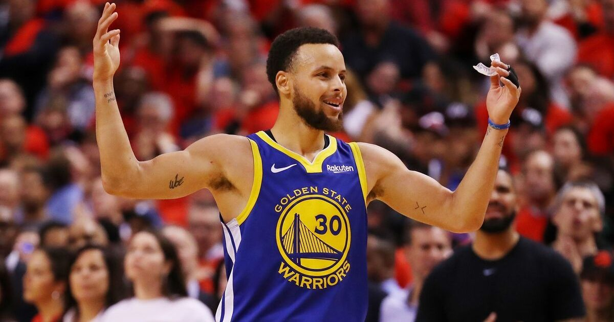 Curry reacts against the Toronto Raptors in the second half during Game Five of the 2019 NBA Finals