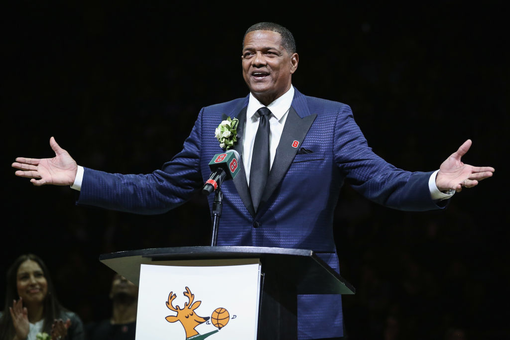 Marques Johnson at the podium