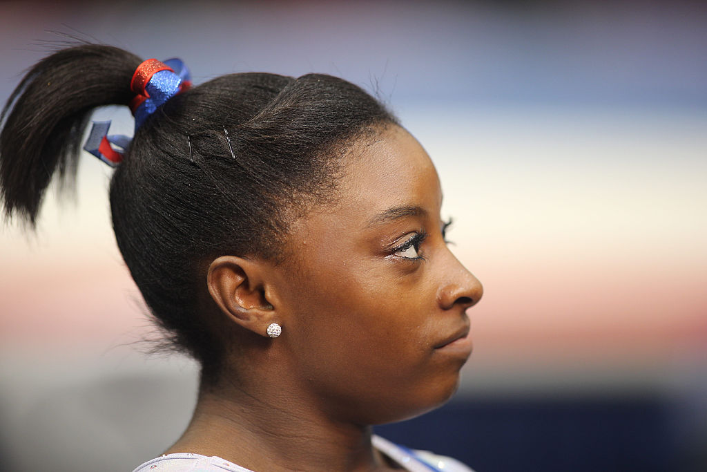 simone biles staring into the distance