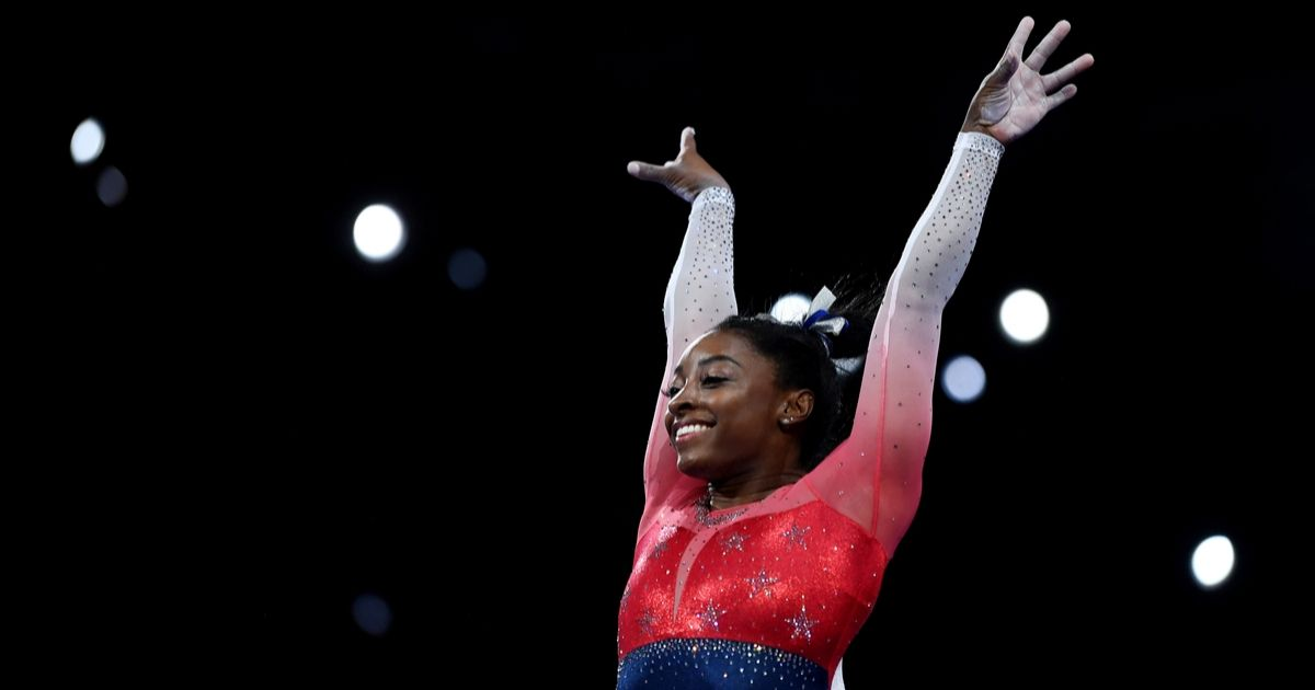 imone Biles of USA performs on Vault during the Women's Team Finals