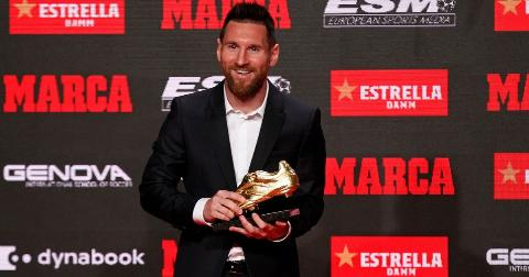 receives his sixth Golden Boot, on 16th October 2019, in Barcelona, Spain