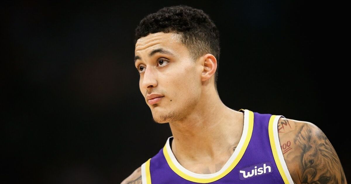 Kyle Kuzma of the Lakers looks on in the first quarter against the Milwaukee Buck