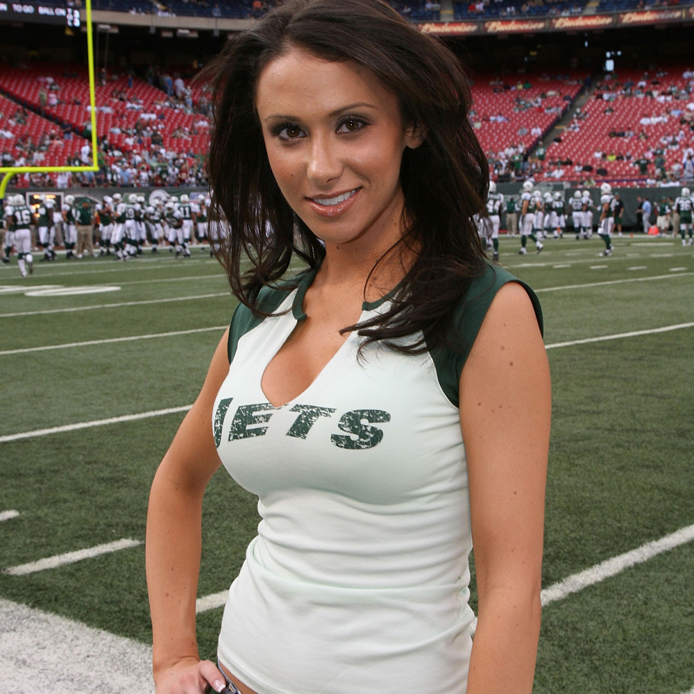 posing in jets shirt