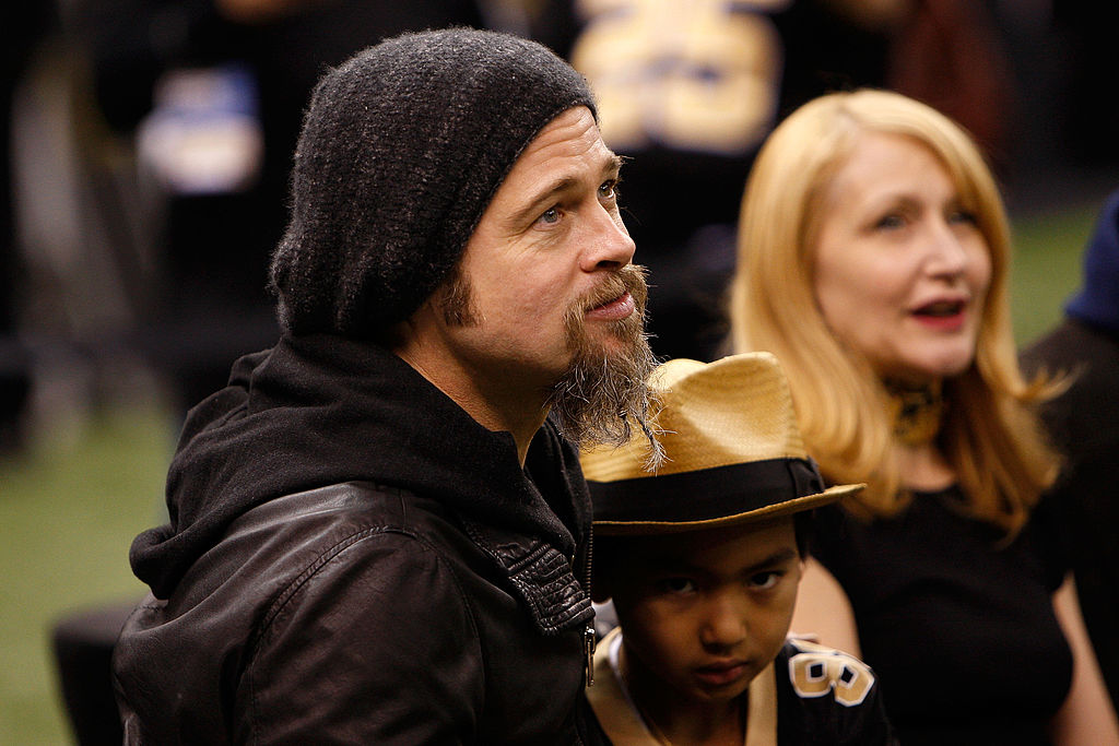 with his son at a saints game