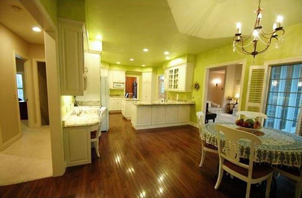 Off of the kitchen is a breakfast nook.