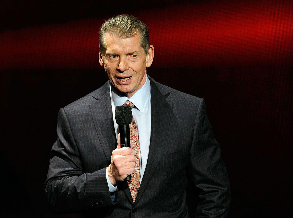 WWE Chairman and CEO Vince McMahon speaks at a news conference