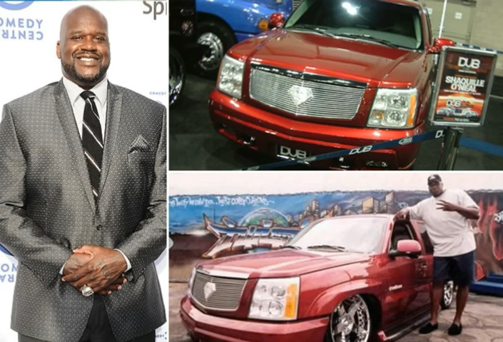 Shaq poses near his red Cadillac Escalade.