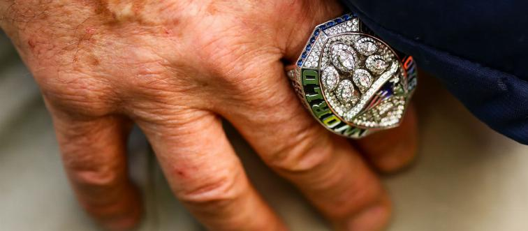 super bowl ring on hand