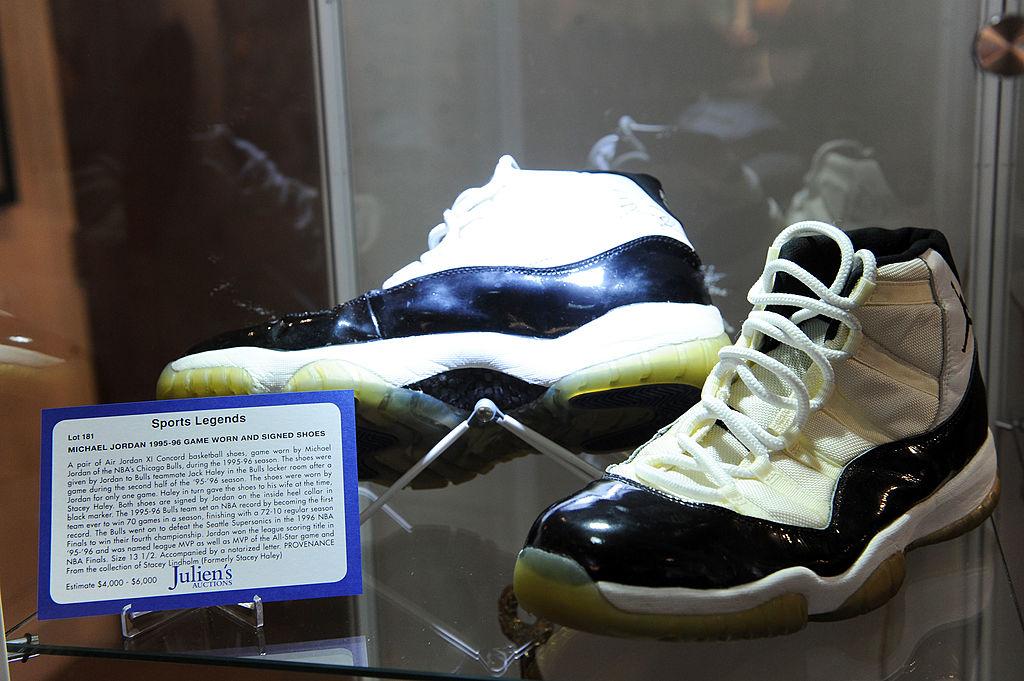 a pair of jordans on display