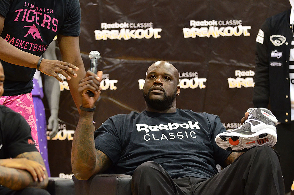 shaq with a microphone