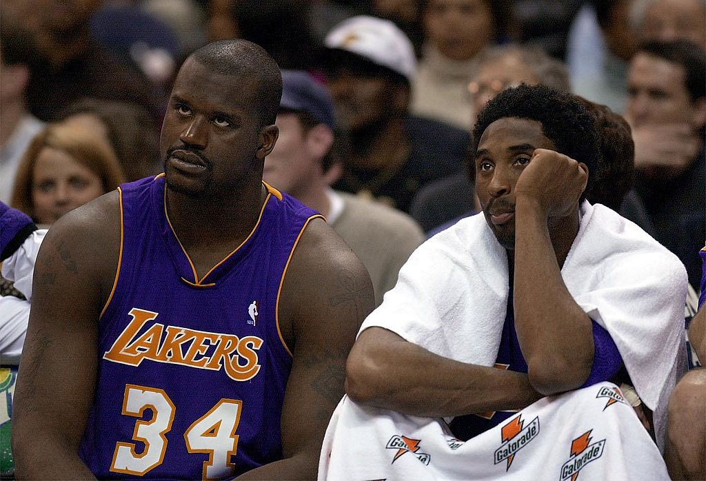 kobe bryant and shaq on the bench
