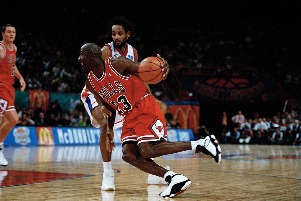 michael jordan on the court wearing jordans