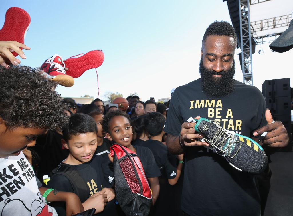 james harden signing shoes for fans