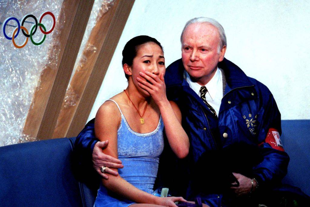 michelle kwan learns her score at the olympics
