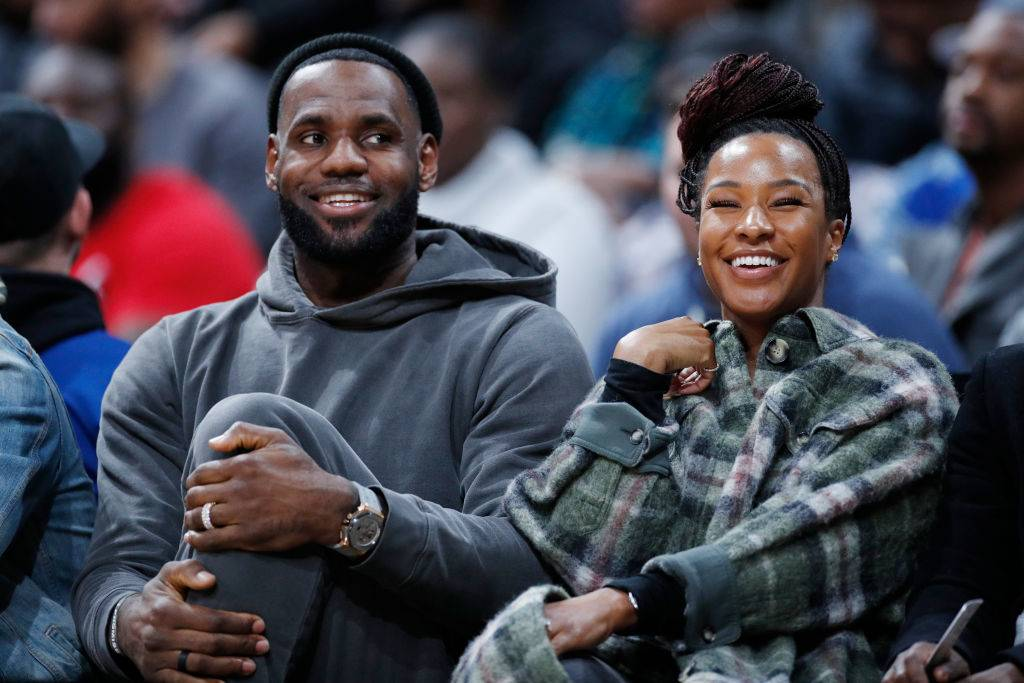 LeBron James of the Los Angeles Lakers and wife Savannah James