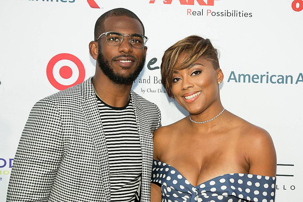 Jada Crawley (R) and Chris Paul arrive for the 18th Annual DesignCare Gala