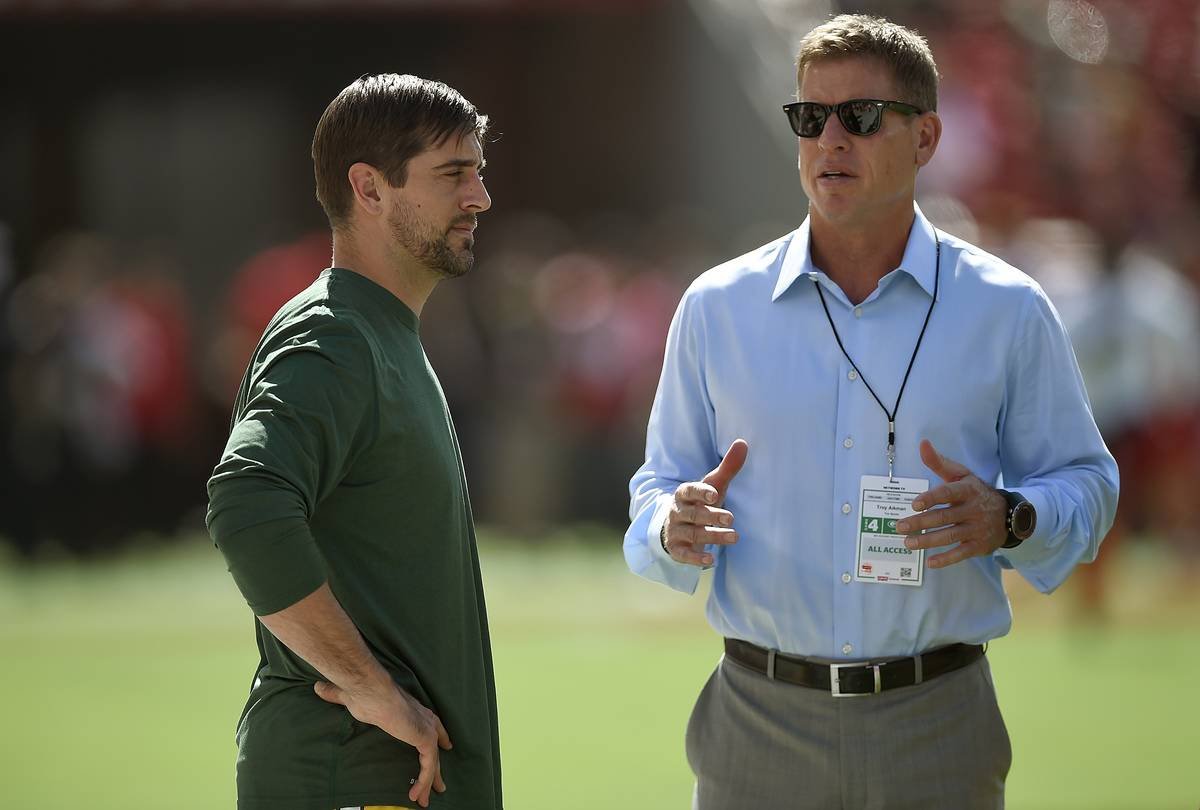 troy aikman with aaron rodgers