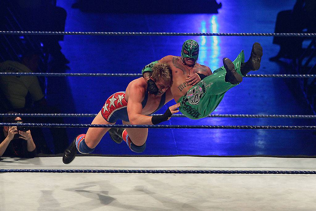 two wrestlers in a match