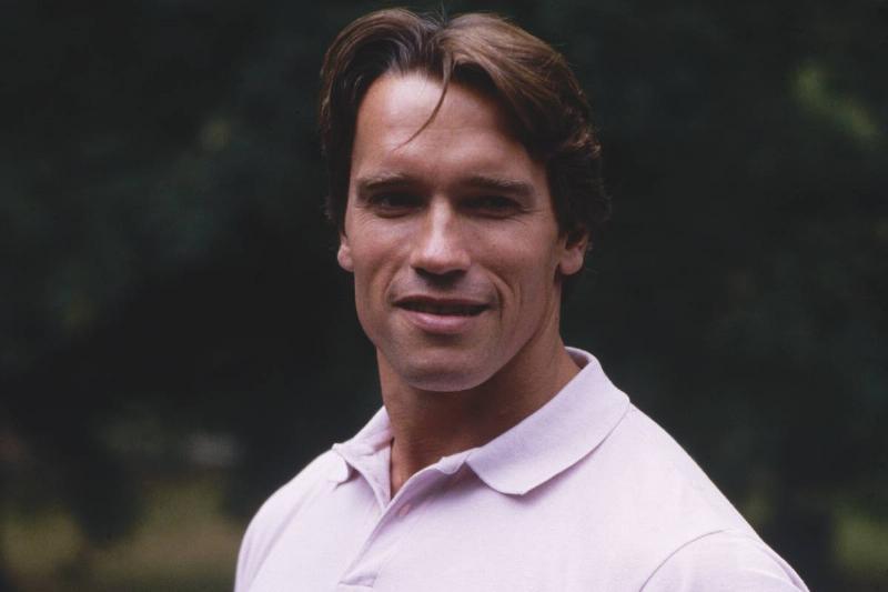 Arnold Schwarzenegger in a polo shirt