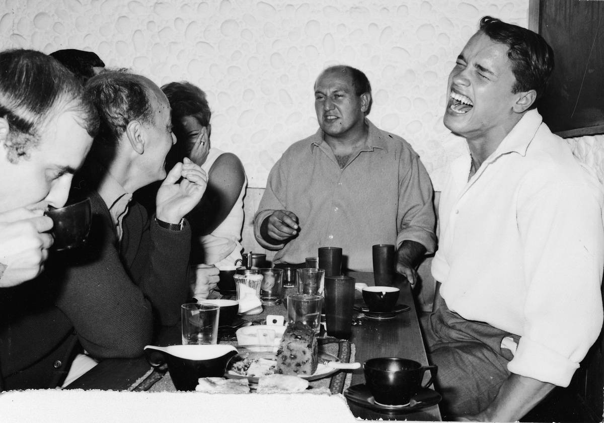Schwarzenegger eating after winning a competition