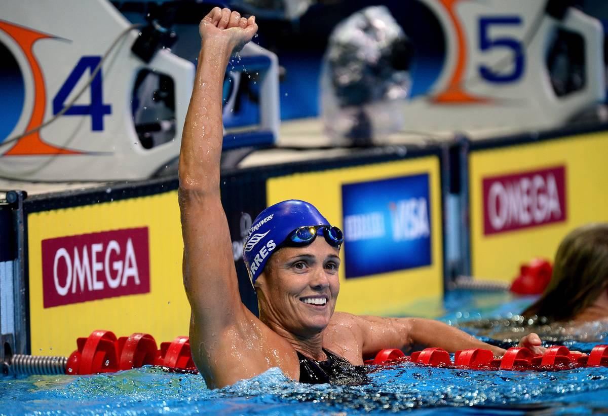 Dara Torres celebrates at the 2012 U.S. Olympic Swimming Team Trials.