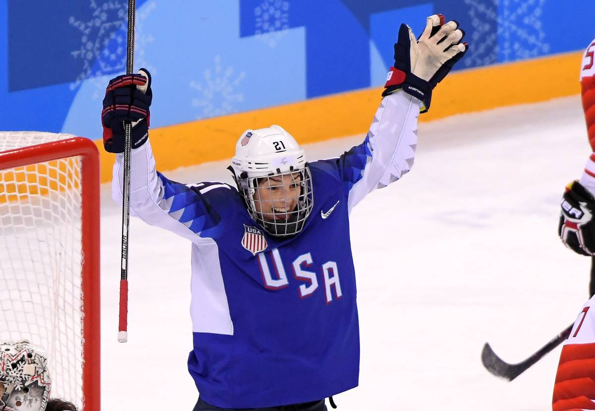 Hilary Knight celebrates after scoring a powerplay goal against Canada.