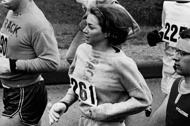 Katherine Switzer runs The Boston Marathon.