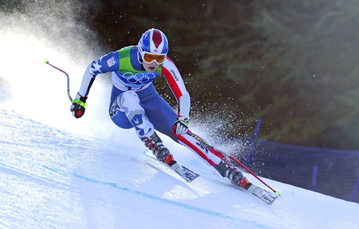 Lindsey Vonn skiing at the 2010 Olympics.