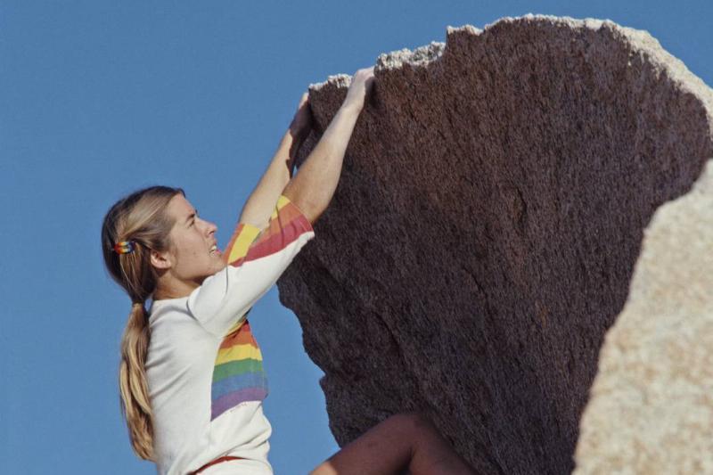 Lynn Hill climbs a rock in Yosemite.