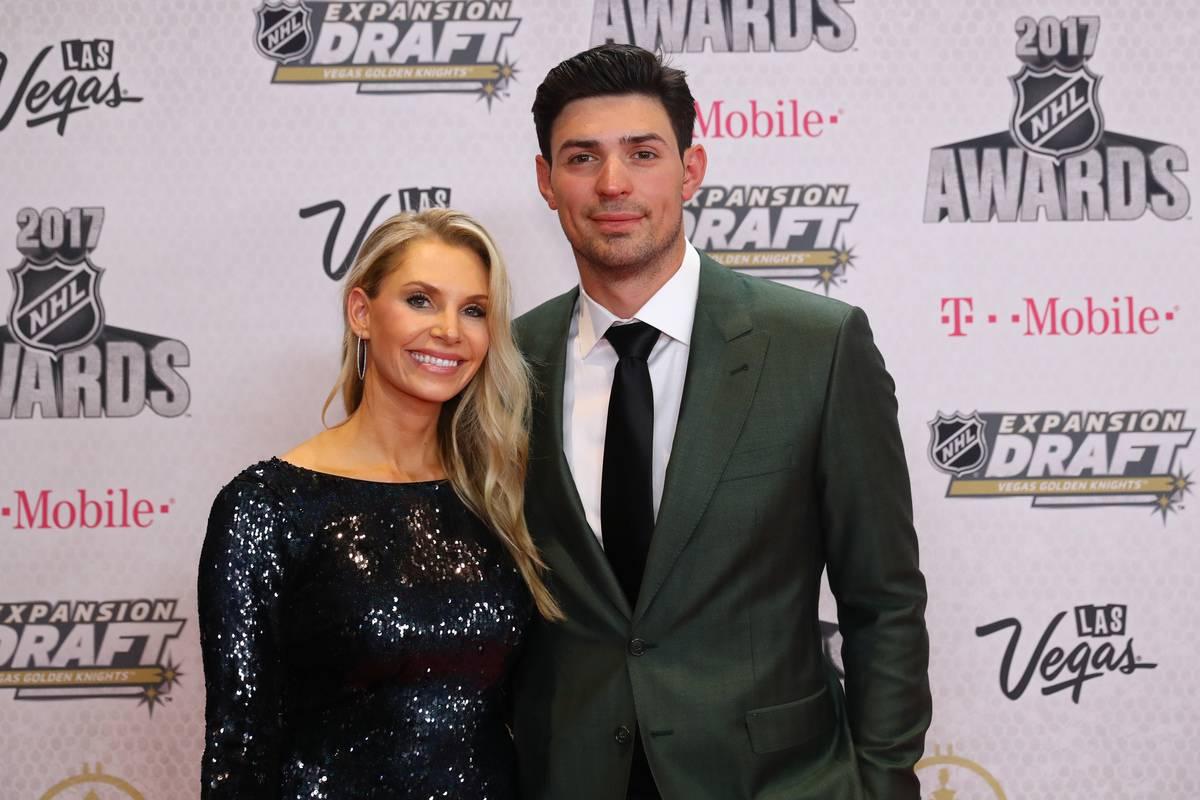 Carey and Angela pose at the 2017 NHL Awards.